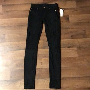 7 For All Mankind Suede Skinny Black Size 23 NWT